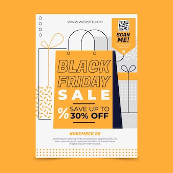 Flat black friday vertical poster template