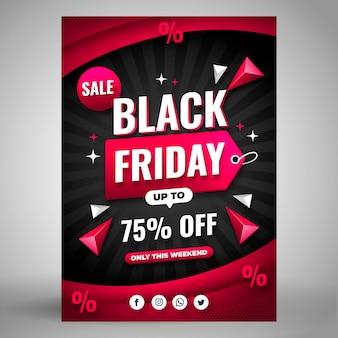 Плоская черная пятница вертикальный шаблон плаката