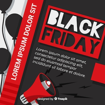 Flat black friday with megaphone