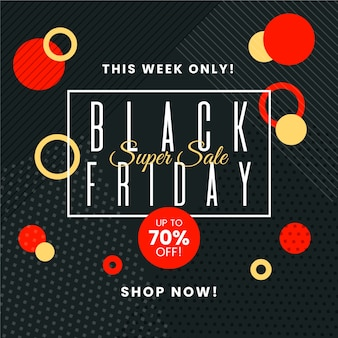 Flat black friday with memphis and circles design