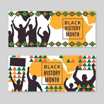 Flat black history month horizontal banners set