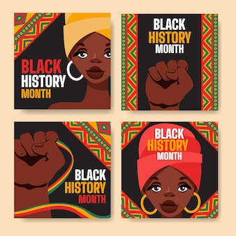 Flat black history month instagram posts collection