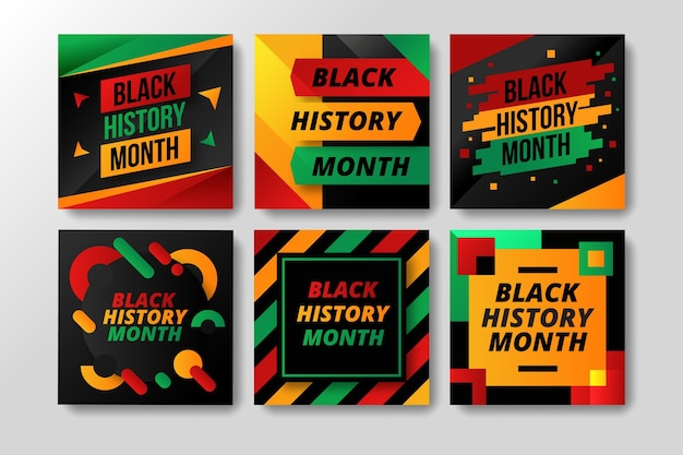 Flat black history month instagram posts