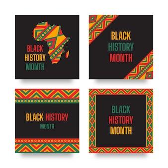 Post di instagram del mese della storia nero piatto