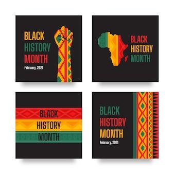 Flat black history month instagram posts
