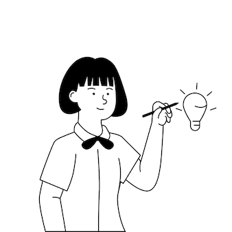 Flat black and white illustration of girl drawing idea concept
