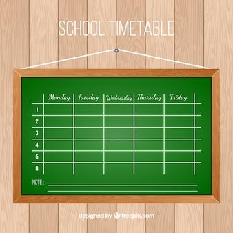 Flat blackboard with school timetable
