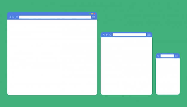 Flat blank browser windows for different devices