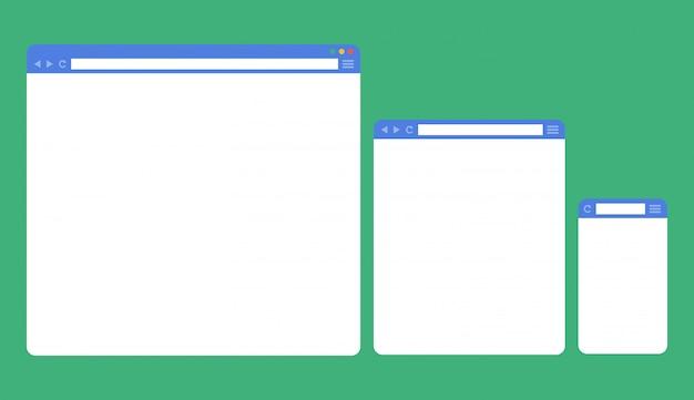 Плоские пустые окна браузера для разных устройств