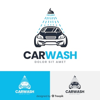 Flat blue car wash logo