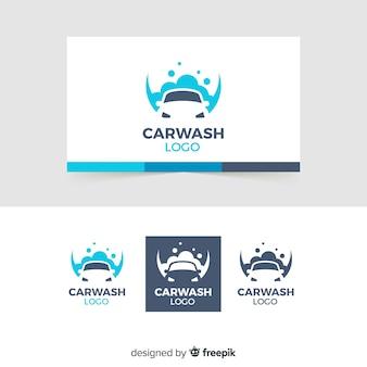 Плоский синий логотип автомойки