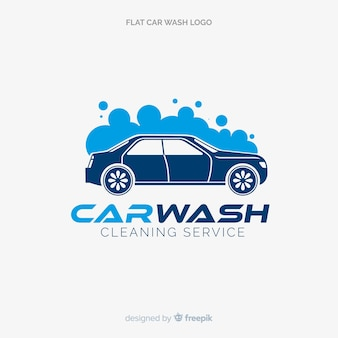 Flat blue car wash logo