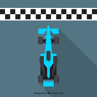 Flat blue f1 racing car crosses finish line