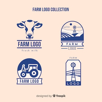 Flat blue farm logo collection