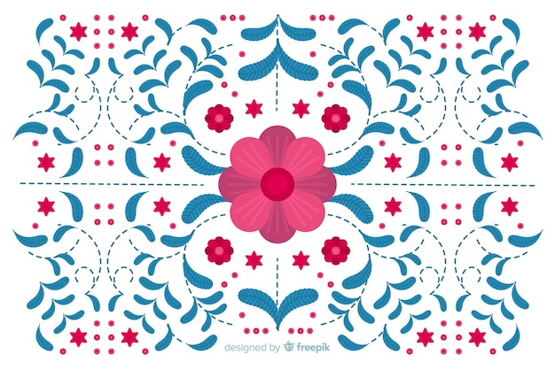 Flat blue floral embroidery background