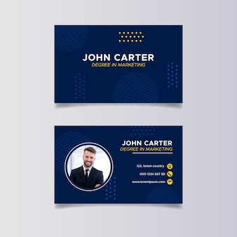 Flat blue horizontal business card