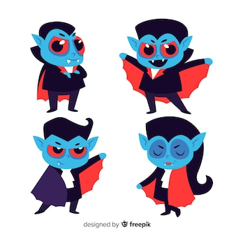 Flat blue kid vampire character collection