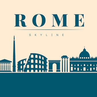 Flat blue skyline of rome