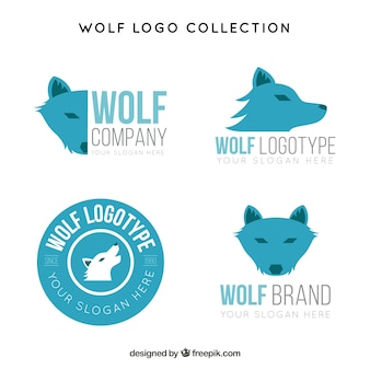 Flat blue wolf logo collection