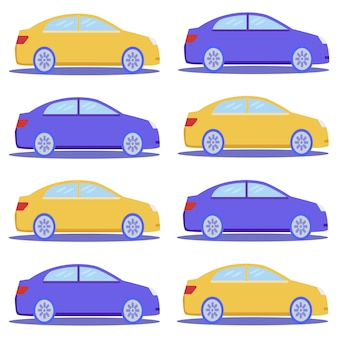 Flat blue and yellow car cartoon seamless pattern