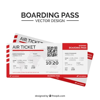 Flat boarding pass with qr code and red shapes
