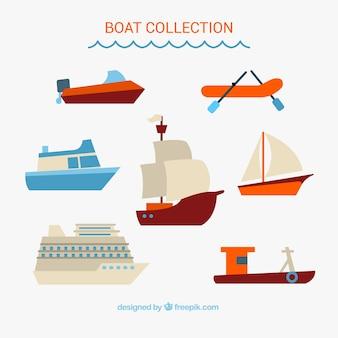 Пакет плоской лодки Бесплатные векторы