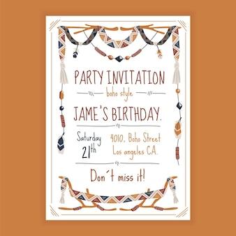 Disegno dell'invito di compleanno piatto boho