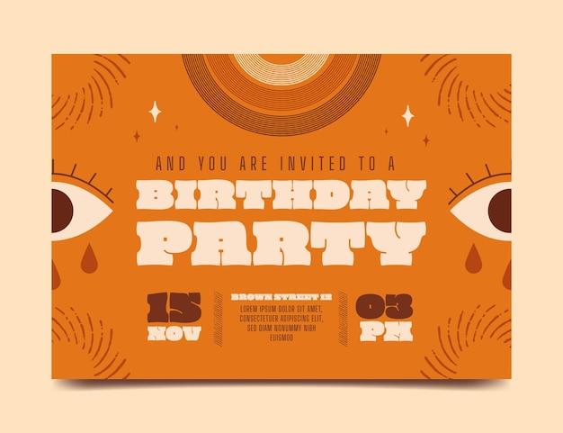 Flat boho birthday invitation template