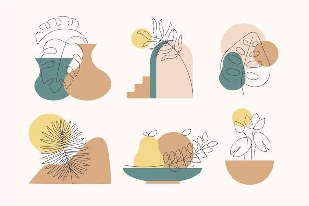 Pacchetto di elementi boho piatto