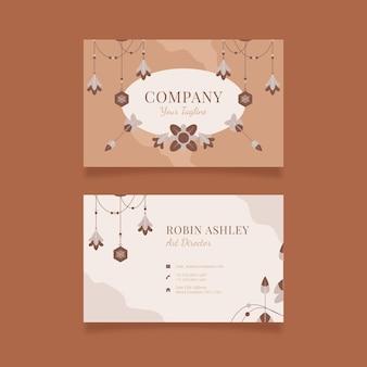 Плоский бохо горизонтальный шаблон визитной карточки