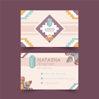 Flat boho horizontal business card template