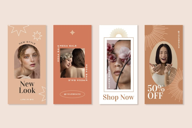 Flat boho instagram stories collection with photo