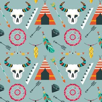 플랫 boho 패턴 디자인