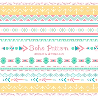 Flat boho pattern with geometric design