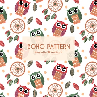 Flat boho style pattern with owls