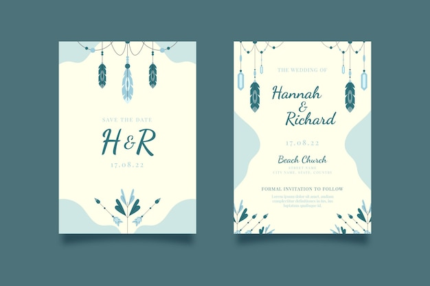 フラット自由奔放に生きる結婚式の招待状のテンプレート
