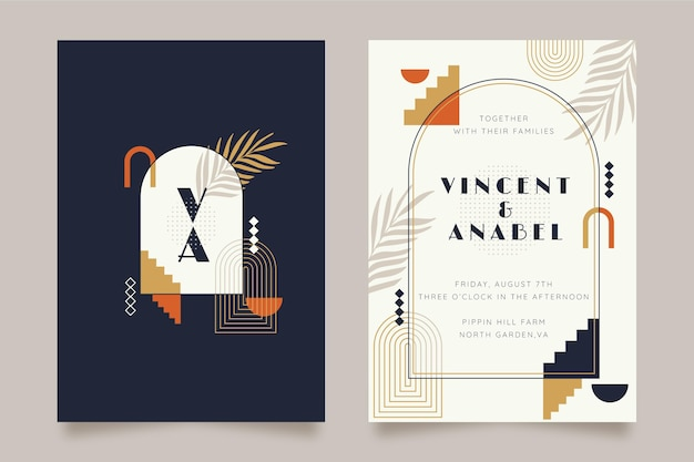 Flat boho wedding invitation template