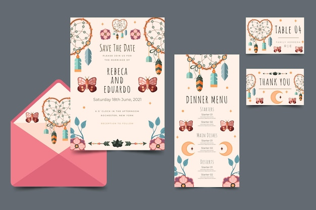 Плоские свадебные канцелярские товары в стиле бохо