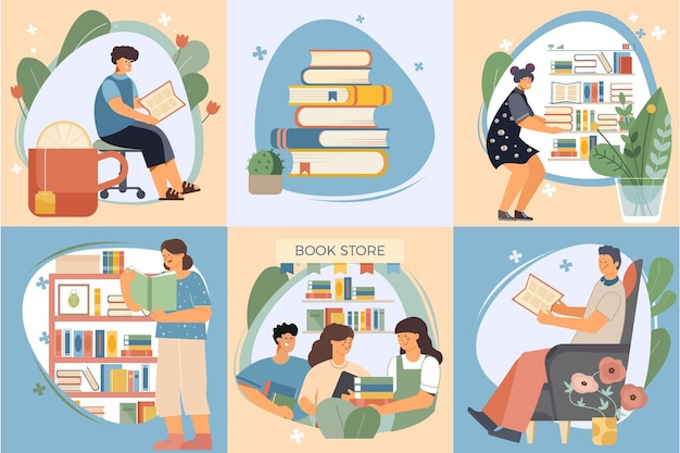 Flat book composition icon set with people people in the book store books on the home shelf and reading illustration