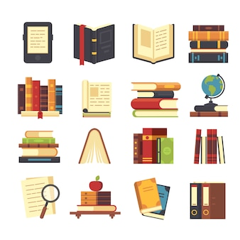 Flat book icons set