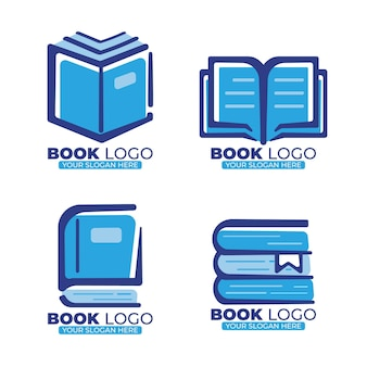 Flat book logo collection with slogan