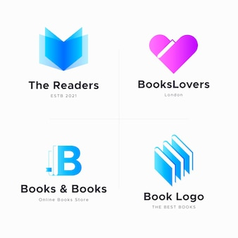 Flat book logo collection
