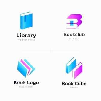 Набор плоских книжных логотипов