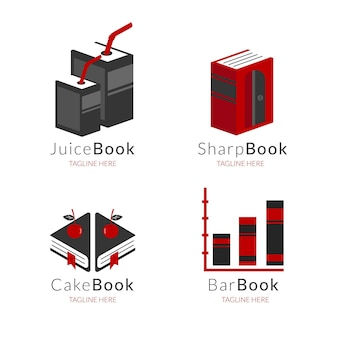 Flat book logo template collection
