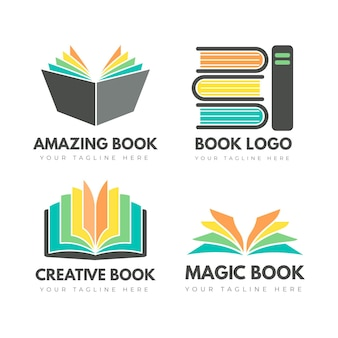 Flat book logo templates collection