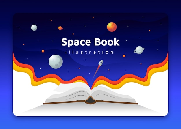 Flat book open with space planets and rocket background concept