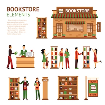Flat bookstore elements images set