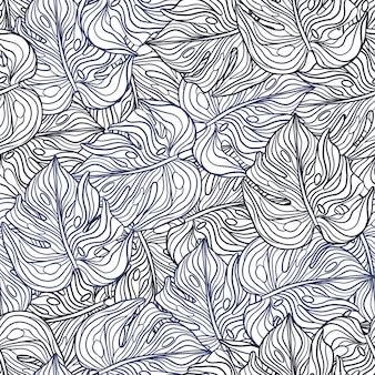 手のひらのエキゾチックな要素を持つ平らな植物学のシームレスなパターン。モンステラの葉のシルエット。紫色の飾り。