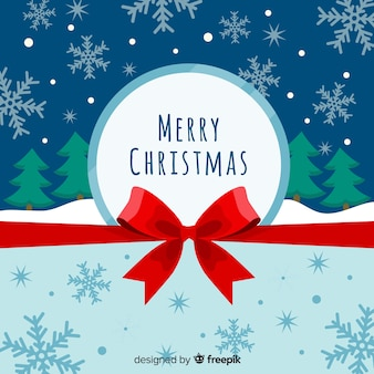 Flat bow christmas background