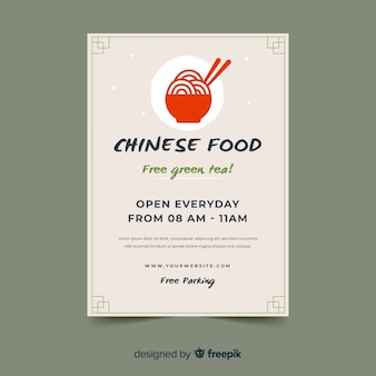 Flat bowl chinese food flyer template